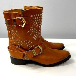 Zara Gold Studded Western Style Buckle Boots
